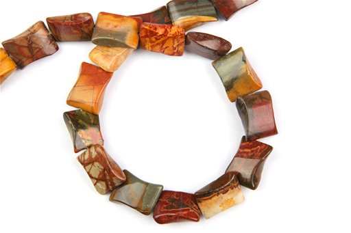 China Picasso Jasper, 15x20mm, Twisted Rectangle Shape Beads