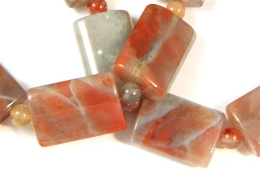 Chinese Flower Agate, 13x18mm, Pillow Shape Beads