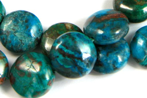 Chrysocolla, 10mm, Puff Coin Shape Beads