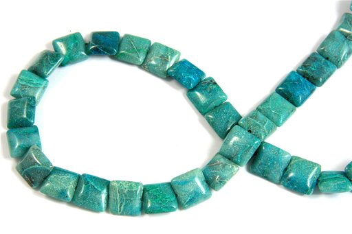 Chrysocolla, 12mm, Puff Square Shape Beads