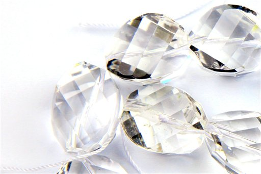 Crystal (AA), 20mm, Faceted Twisted Nugget Shape Beads