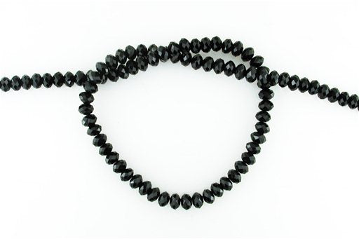 Crystal Glass, Black, 6mm, Rondelle Shape Beads