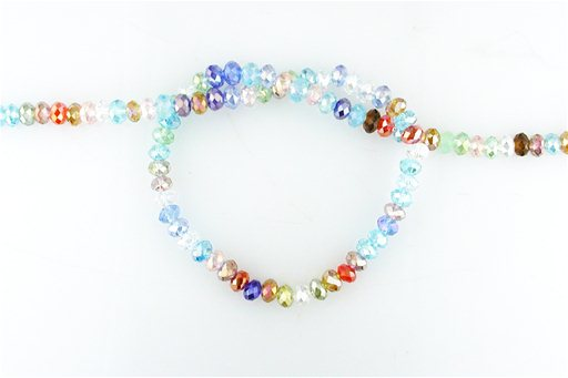 Crystal Glass, Blended Color AB, 6mm, Rondelle Shape Beads