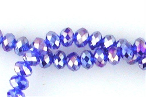 Crystal Glass, Deep Blue AB, 6mm, Rondelle Shape Beads