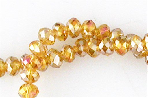 Crystal Glass, Light Brown ABSP, 6mm, Rondelle Shape Beads