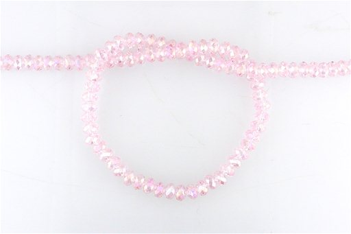 Crystal Glass, Light Pink ABSP, 6mm, Rondelle Shape Beads