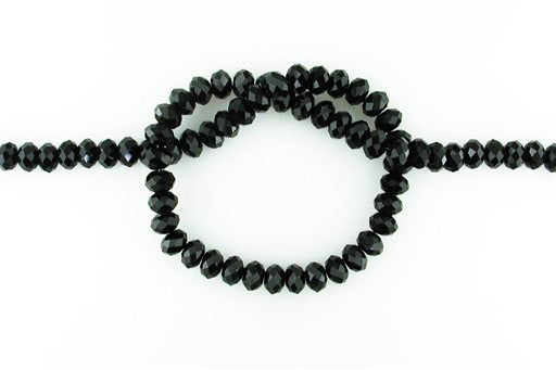 Crystal Glass, Black, 8mm, Rondelle Shape Beads