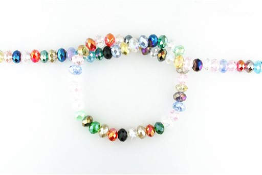 Crystal Glass, Blended Color AB, 8mm, Rondelle Shape Beads