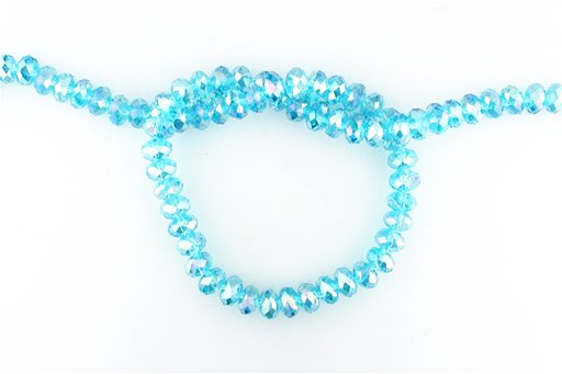 Crystal Glass, Blue AB, 8mm, Rondelle Shape Beads