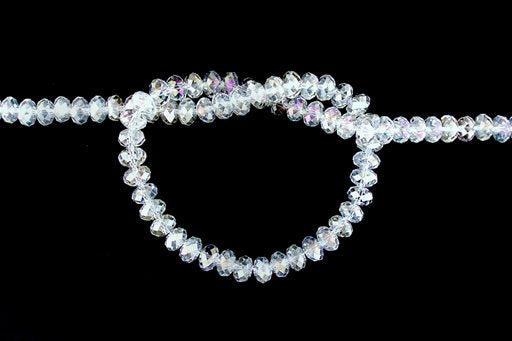 Crystal Glass, Clear AB, 8mm, Rondelle Shape Beads