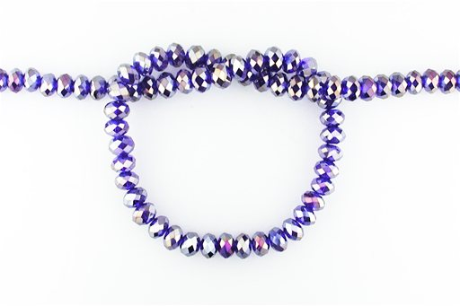 Crystal Glass, Deep Blue AB, 8mm, Rondelle Shape Beads