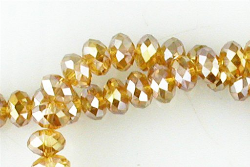 Crystal Glass, Light Brown ABSP, 8mm, Rondelle Shape Beads