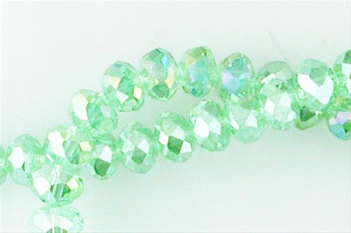 Crystal Glass, Light Green AB, 8mm, Rondelle Shape Beads