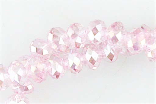 Crystal Glass, Light Pink ABSP, 8mm, Rondelle Shape Beads