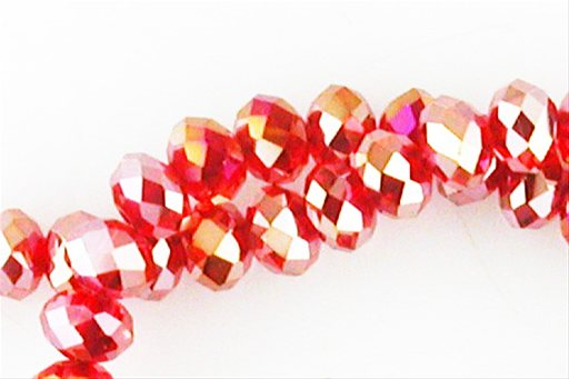 Crystal Glass, Red ABSP, 8mm, Rondelle Shape Beads