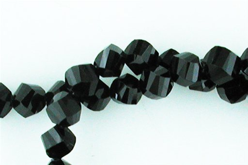 Crystal Glass, Black, 8mm, Twist Shape Beads