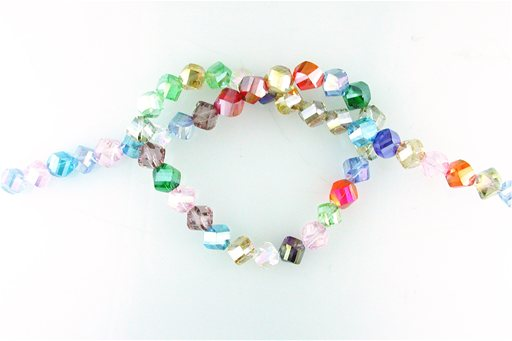 Crystal Glass, Blended Color AB, 8mm, Twist Shape Beads