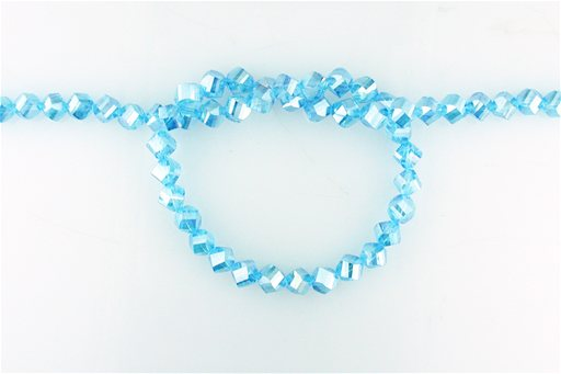 Crystal Glass, Blue AB, 8mm, Twist Shape Beads