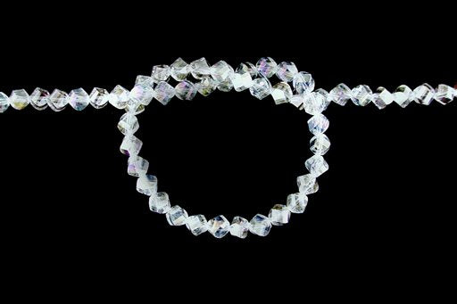 Crystal Glass, Clear AB, 8mm, Twist Shape Beads