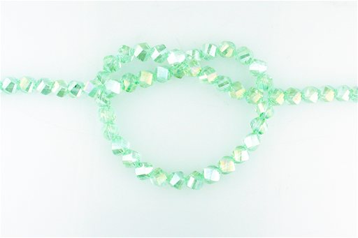 Crystal Glass, Light Green AB, 8mm, Twist Shape Beads