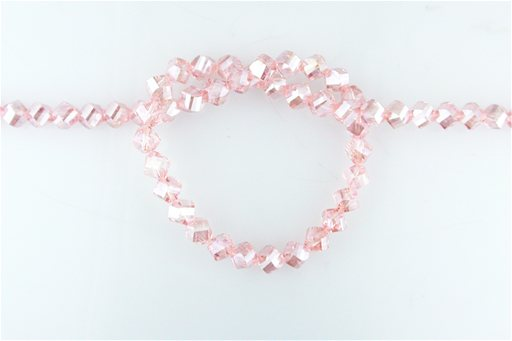 Crystal Glass, Pink ABSP, 8mm, Twist Shape Beads
