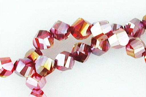 Crystal Glass, Red ABSP, 8mm, Twist Shape Beads