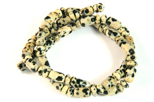 Dalmatian, 6x9mm, Barrel Rondelle Assorted Shape Beads