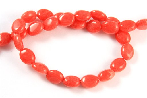 Dyed Ruby Jade, 8x10mm, Oval Shape Beads