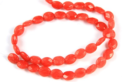 Dyed Ruby Jade, 8x10mm, Faceted Oval Shape Beads