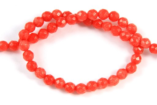 Dyed Ruby Jade, 6mm, Faceted Round Shape Beads