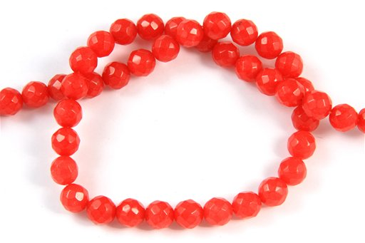 Dyed Ruby Jade, 8mm, Faceted Round Shape Beads