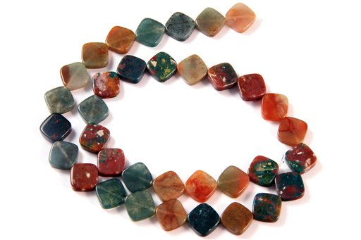 Fancy Jasper, 10mm, Flat Diamond Shape Beads