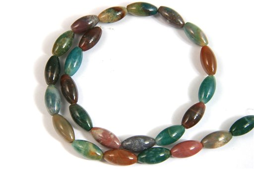 Fancy Jasper, 8x16mm, Rice Shape Beads