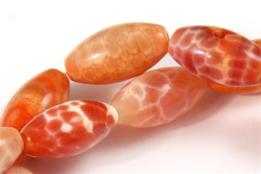 Fire Agate, 8x16mm, Rice Shape Beads