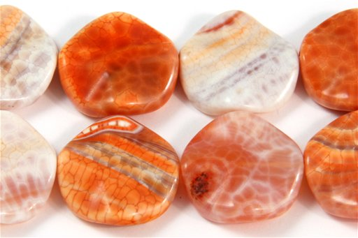Fire Agate, 20mm, Wavy Coin Shape Beads