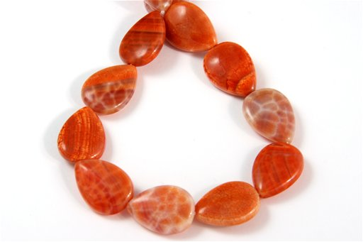 Fire Agate, 13x18mm, Pear Shape Beads