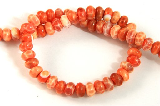 Fire Agate, 8mm, Rondelle Shape Beads