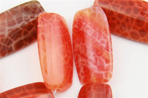 Fire Agate, 15x30mm, 4 Sided Rice Shape Beads
