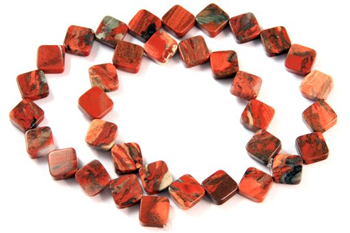 Fire Stone Jasper, 10mm, Flat Diamond Shape Beads