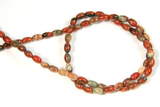 Fire Stone Jasper, 4x6mm, Rice Shape Beads