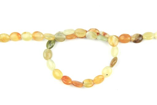Flower Jade, 8x10mm, Oval Shape Beads