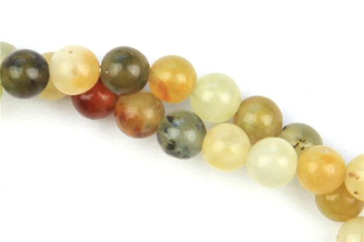 Flower Jade, 4mm, Round Shape Beads