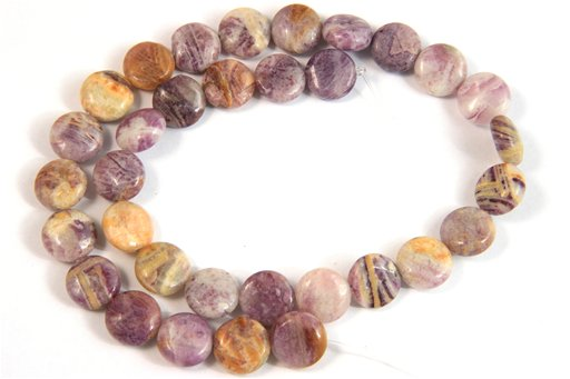 Flower Sugilite, 12mm, Coin Shape Beads