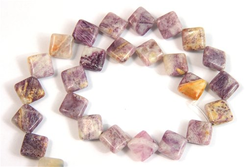 Flower Sugilite, 12mm, Puff Diamond Shape Beads