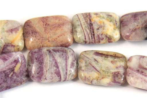 Flower Sugilite, 13x18mm, Rectangle Shape Beads