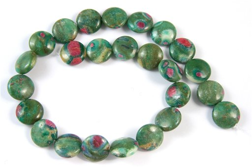 Fuchsite Ruby, 16mm, Coin Shape Beads