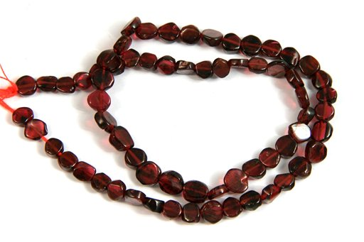 Garnet, Irregular 4-6mm, Coin Shape Beads