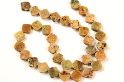 Golden Jasper, 10mm, Flat Diamond Shape Beads