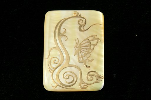 Golden Shell (MOP), 33x48mm, Rectangle Shape Pendant