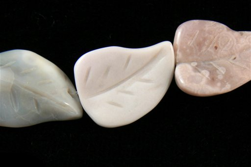 Gray Agate, 18x22mm, Carved Wavy Leaf Shape Beads